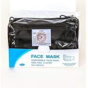 NEW 20 PC FACE MASK 4 PLY ADULT NOSE WIRE BLACK